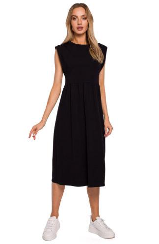 Sukienka midi z szerokimi ramionami czarna