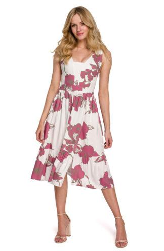 Sukienka midi z rozcięciem różowa w kwiaty