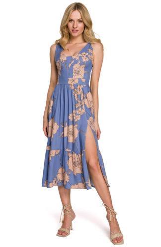 Sukienka midi z rozcięciem niebieska w kwiaty