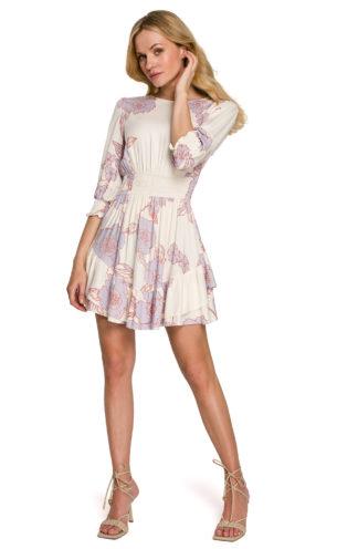 Mini sukienka z marszczeniami biała w kwiaty
