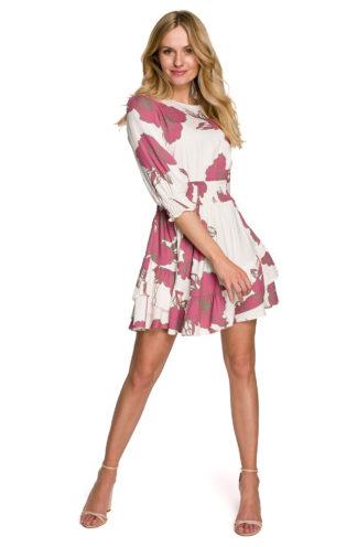 Mini sukienka z marszczeniami różowa w kwiaty