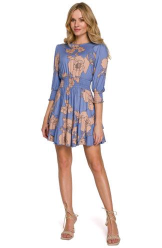 Mini sukienka z marszczeniami niebieska w kwiaty