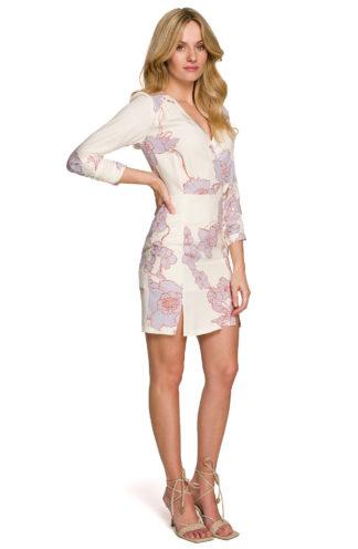 Kopertowa sukienka w kwiaty biała