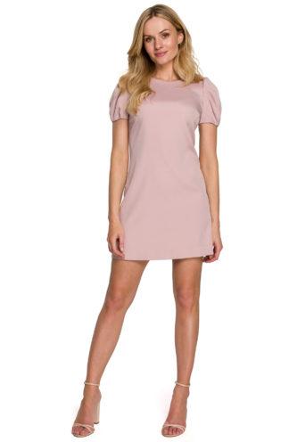 Prosta sukienka z bufiastymi rękawami różowa