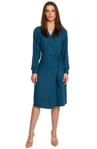 Bawełniana sukienka z wiązaniem i rękawem morski