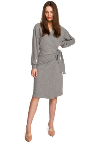 Bawełniana sukienka z wiązaniem i rękawem szara