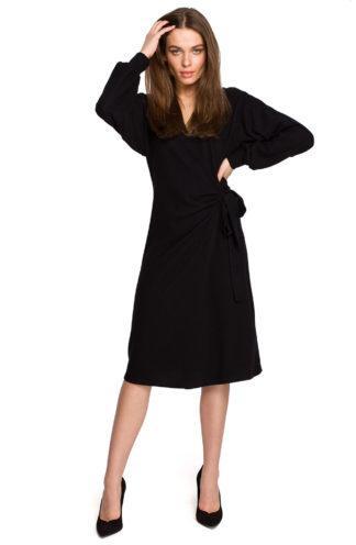 Bawełniana sukienka z wiązaniem i rękawem czarna