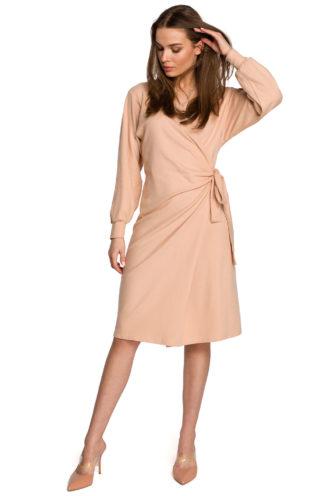 Bawełniana sukienka z wiązaniem i rękawem beżowa