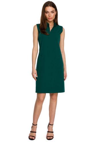 Prosta sukienka ze stójką zielona