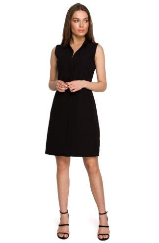 Prosta sukienka ze stójką czarna