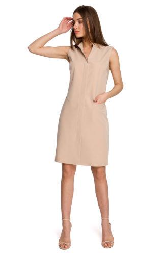 Prosta sukienka ze stójką beżowa