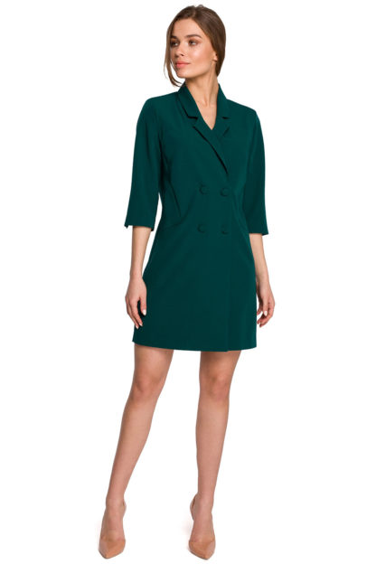 Sukienka żakietowa z paskiem zielona