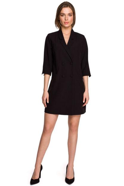 Sukienka żakietowa z paskiem czarna