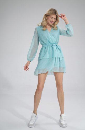 Szyfonowa sukienka z wiązaniem miętowa