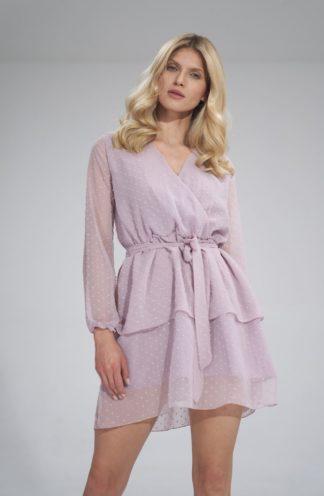 Szyfonowa sukienka z wiązaniem fioletowa