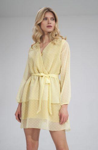 Szyfonowa sukienka z wiązaniem żółta
