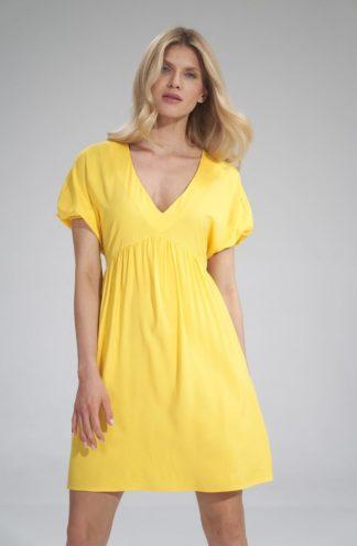Mini sukienka z bufiastymi rękawami żółta