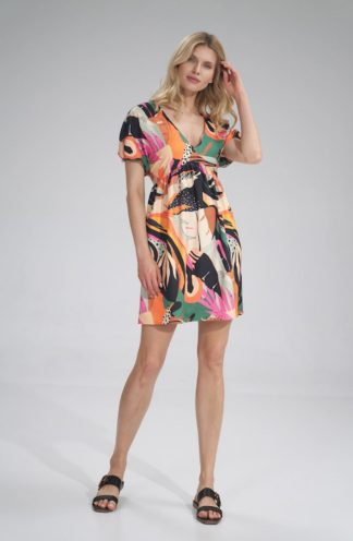 Mini sukienka z bufiastymi rękawami we wzory
