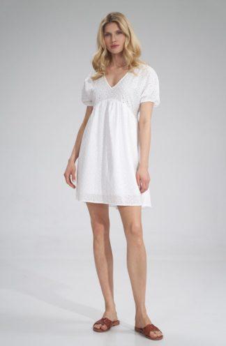 Ażurowa sukienka mini biała