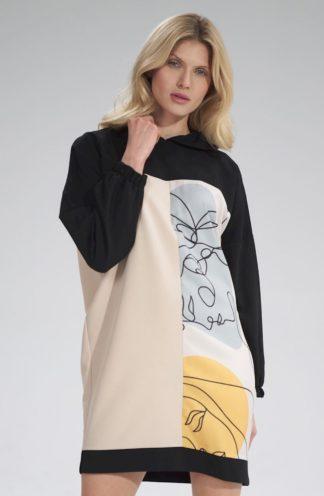 Wzorzysta bluza z długimi rękawami wzór 123