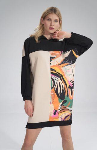 Wzorzysta bluza z długimi rękawami wzór 125