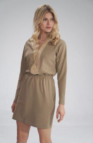 Prosta mini sukienka beżowa
