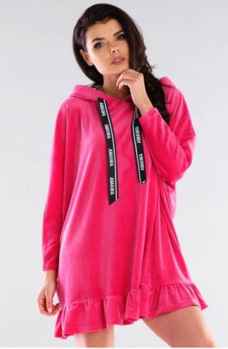 Welurowa bluza z falbanką różowa