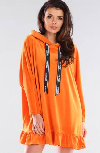 Welurowa bluza z falbanką pomarańczowa