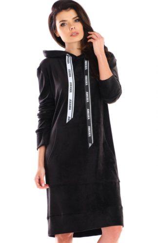 Długa bluza z weluru czarna
