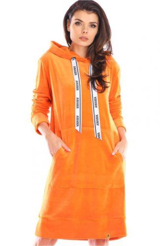 Długa bluza z weluru pomarańczowa