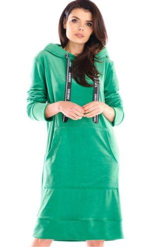 Długa bluza z weluru zielona