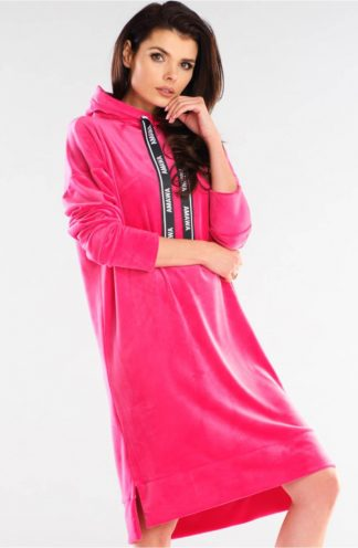 Welurowa bluza z dłuższym tyłem różowa