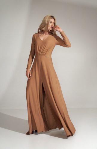 Długa sukienka z dekoltem i rękawem beżowa