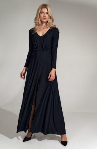 Długa sukienka z dekoltem i rękawem czarna