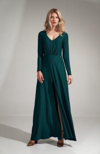 Długa sukienka z dekoltem i rękawem zielona