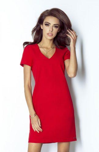 Trapezowa sukienka z dekoltem i rękawkiem czerwona