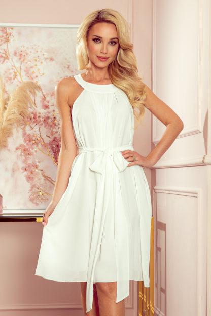 Szyfonowa sukienka z wiązaniem ecru
