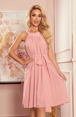 Szyfonowa sukienka z wiązaniem pudrowy róż