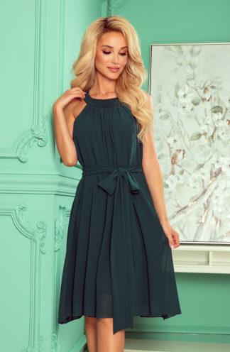 Szyfonowa sukienka z wiązaniem butelkowa zieleń