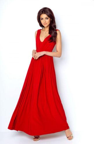 Długa suknia z rozcięciem czerwona