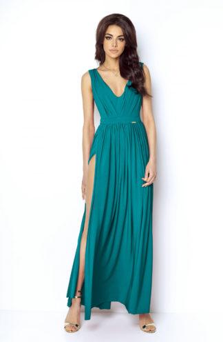 Długa suknia z rozcięciem zielona