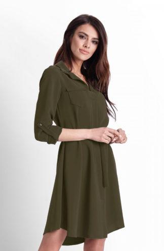 Wiązana sukienka z kołnierzykiem khaki