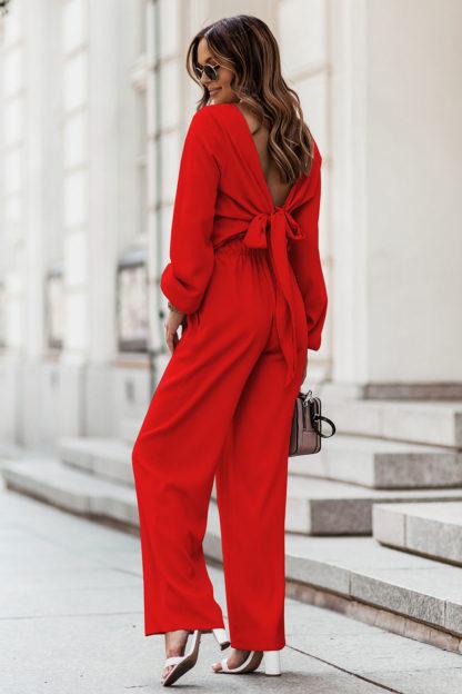 Komplet z wiązaną bluzką czerwony