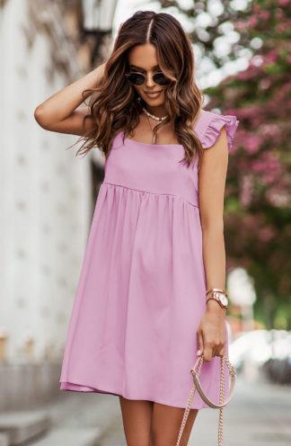 Luźna sukienka mini różowa