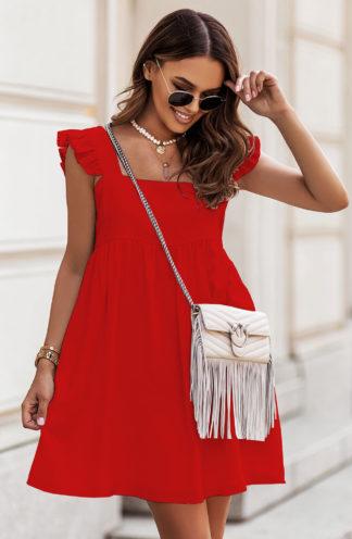 Luźna sukienka mini czerwona