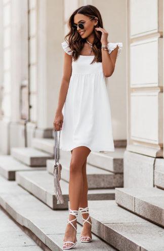 Luźna sukienka mini ecru