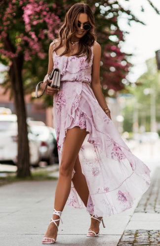 Asymetryczna sukienka z szyfonu w kwiaty