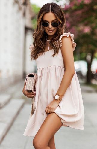 Luźna sukienka mini beżowa