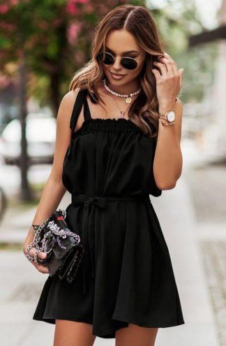Sukienka hiszpanka z wiązaniami czarna