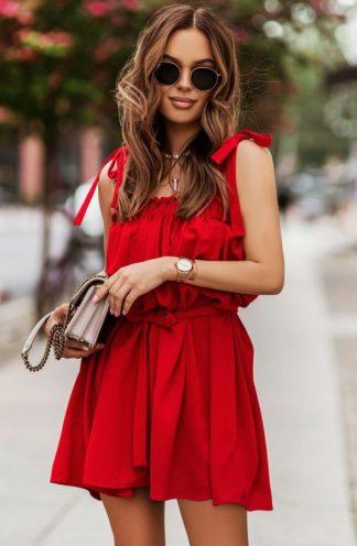 Sukienka hiszpanka z wiązaniami czerwona